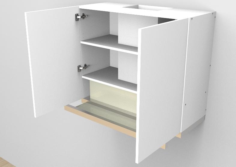 flat pack Top Pull out Rangehood - Double Door Cabinet