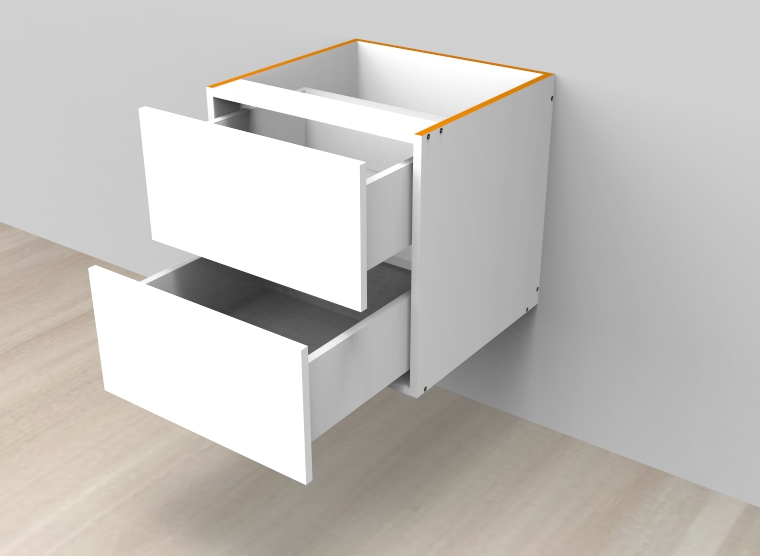 flat pack Two Drawers Wall Hung Vanity